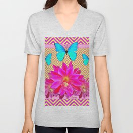 Fuchsia Orchid Flowers Turquoise Butterfly Yellow Patterns Unisex V-Neck