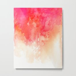 Watercolor red Coral decor Modern illustration abstract Peachy print Pink art Metal Print