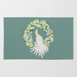 Cockatiel with daisy palm wreath Rug