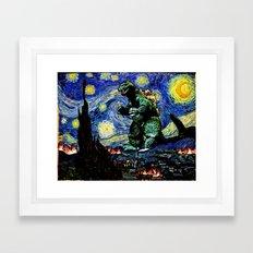 Godzilla versus Starry Night Framed Art Print