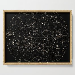 Constellations Map, Stars, Astronomy Cosmos Galaxy Serving Tray