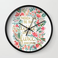 adorable Wall Clocks featuring Little & Fierce by Cat Coquillette