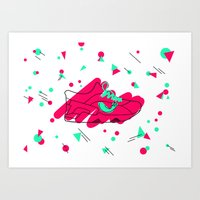 sneaker Art Prints featuring SNEAKER  by ninohna