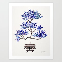 Bonsai Tree – Navy Palette Art Print