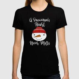 Winter Snowmans Heart Building Snowment T-shirt