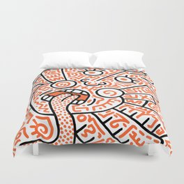 """""""The Face"""" - inspired by Keith Haring v. orange Duvet Cover"""