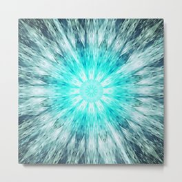 Teal Blue Mandala Metal Print
