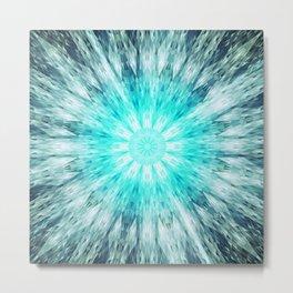 Teal Blue Mandala Metal Print