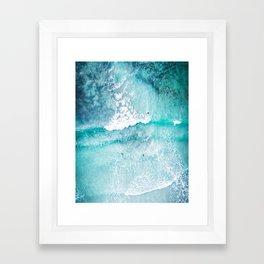 Blue water sea ocean photo, coastal, beach art Framed Art Print