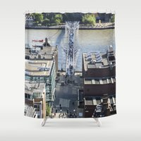 millenium falcon Shower Curtains featuring The Millenium Bridge by David Pyatt