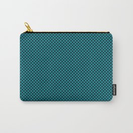 Houndstooth Black & Teal small Carry-All Pouch