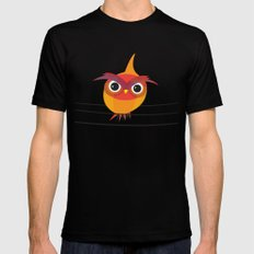 Owl On A Wire Black Mens Fitted Tee MEDIUM