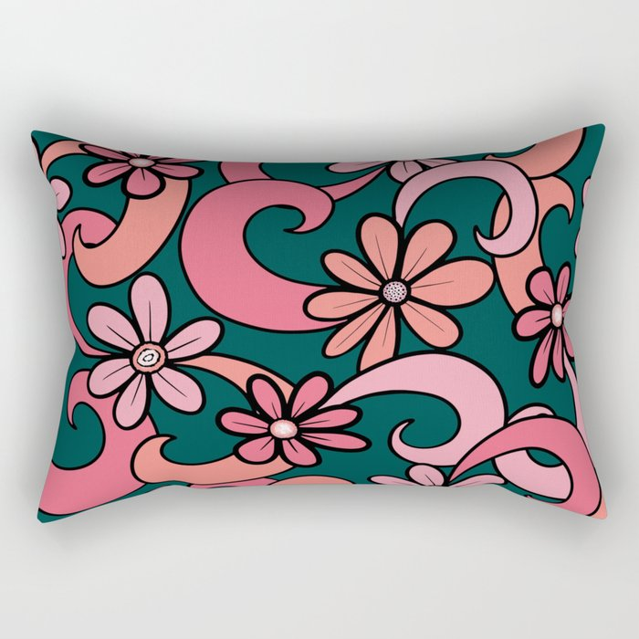 Girly Groovy Pink Coral Green 70s Flowers Pattern Rectangular Pillow