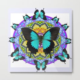 PURPLE AMETHYST BLUE BUTTERFLY MANDALA  WHITE ART Metal Print