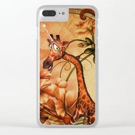 Funny, cute unicorn giraffe Clear iPhone Case