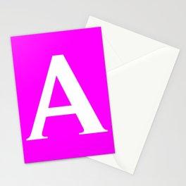 A MONOGRAM (WHITE & FUCHSIA) Stationery Cards