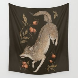 The Wolf and Rose Hips Wall Tapestry