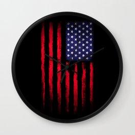 Vintage American flag on black Wall Clock