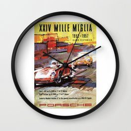 Mille Miglia, Race Poster, Vintage Poster, car poster Wall Clock