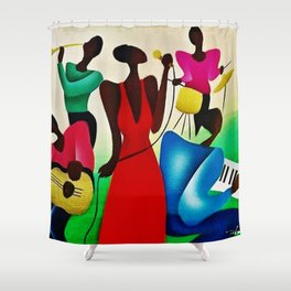 Classical African American Masterpiece 'Bourbon Street New Orleans Jazz' by Fred Blassingham Shower Curtain