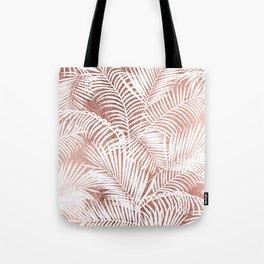 Modern elegant white faux rose gold palm tree Tote Bag