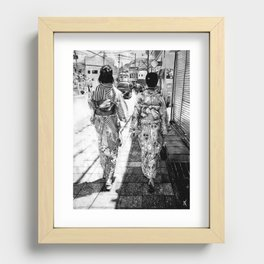 Kyoto   Charcoal B&W Recessed Framed Print