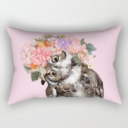 Owl with Flowers Crown in Pink Rectangular Pillow