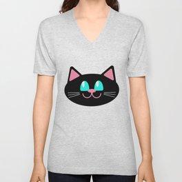 black funny cat face close up isolated on white Unisex V-Neck