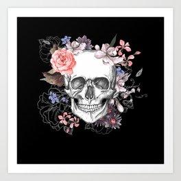 Dia Los Muertos, Floral Skull Art Print