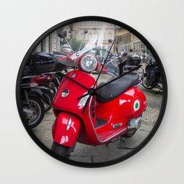 Red Vespa in Milan, Italy Wall Clock