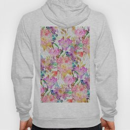 Elegant watercolor floral and dotted brush strokes Hoody