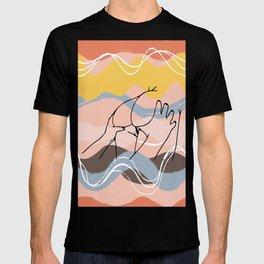 The Waves Of Sex, Erotic Lovers Art, Minimalist Sex Illustration, Modern Sex Pose Line Drawing T-shirt