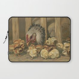 Vintage Chicken & Baby Chicks Painting (1891) Laptop Sleeve