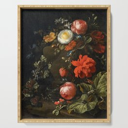 Elias van den Broeck - Floral Still Life with Insects Serving Tray