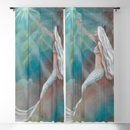 Angelfish Mermaid Fantasy Art by Laurie Leigh Nude Blackout Curtain