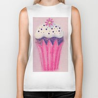 cupcake Biker Tanks featuring Cupcake by Irène Sneddon
