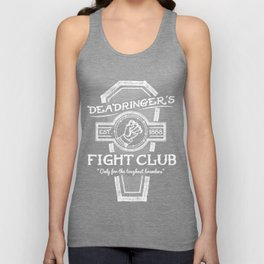 Deadringer's Fight Club, White on Black.  Unisex Tank Top