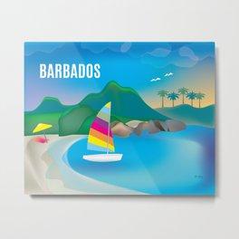Barbados - Skyline Illustration by Loose Petals Metal Print