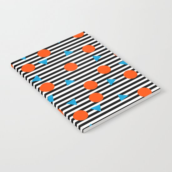 Yadda Yadda - memphis lines stripes dots triangles geometric abstract minimal print pattern wacka yo Notebook