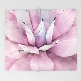 Pink Succulent Throw Blanket