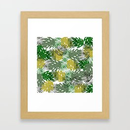 Tropical Monstera Leaf and Palm Branches Framed Art Print