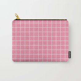 Vanilla ice - pink color -  White Lines Grid Pattern Carry-All Pouch
