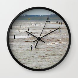 Gormley Statues on the beach (Digital Art) Wall Clock