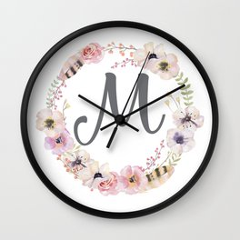 Floral Wreath - M Wall Clock