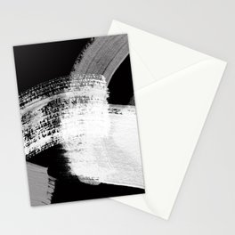 modern painterly brush strokes texture in bw Stationery Cards
