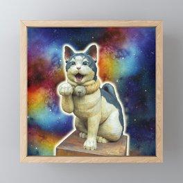 Lucky cat in space Framed Mini Art Print