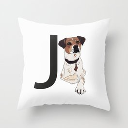 J is for Jack Russell Terrier Throw Pillow