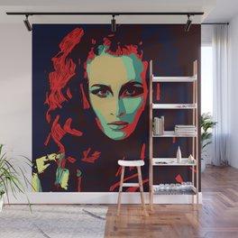 Red head popart illustration prettyface model fashion Wall Mural