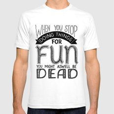 Having Fun SMALL White Mens Fitted Tee