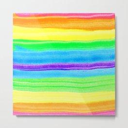 Neon Rainbow Watercolor Stripes Metal Print